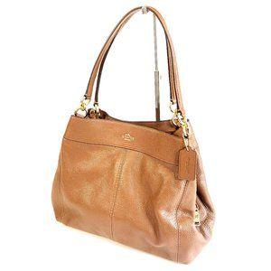 Coach Tan Beige Pebbled Leather Lexy Shoulder Bag